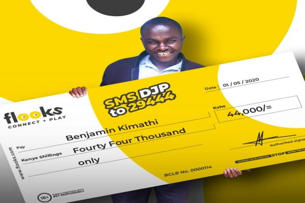 Lucky punter wins a Bonus of KES 44,000 in Daily Jackpot with Flooks Betting company.